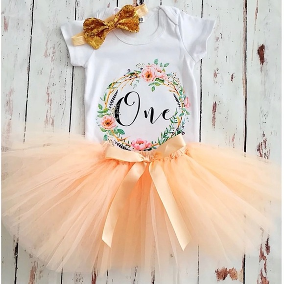 Brand New Baby Girl First Birthday Outfit 1 Year